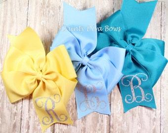 Glitter Monogram Bow, Monogram Hair Bow, Large Pinwheel Hair Bow, Large Bow, Monogrammed Bow, Personalized Bow, 5 Inch Bow, Pinwheel Bow