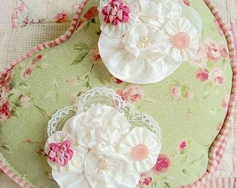 Vintage Embellished Silk and Cotton Flower Clip Juvie Moon Designs