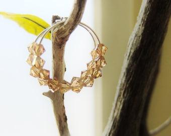 Small Hoop Earrings Swarovski Crystal Beaded Champagne Iridescent Simple Minimal Bead