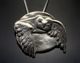 Sterling Silver Owl Pendant Necklace // Silver Owl Jewelry