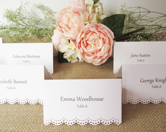 100 Custom Printed - Eyelet Scallop Edge / Tent Place Cards - Wedding Escort Cards - Wedding - Reception - Rehearsal Dinner/ Placecards