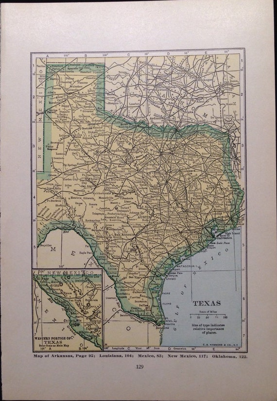 1920s Texas Map Utah Map US Travel Antique Maps by