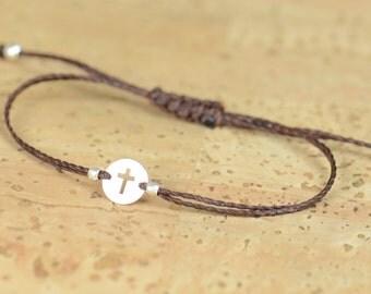 Sterling silver cross charm bracelet