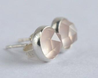 rose quartz 7mm rose cut sterling silver stud earrings pair