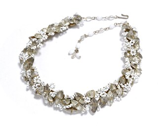 40s Bridal Rhinestone and Brass Artisan Necklace