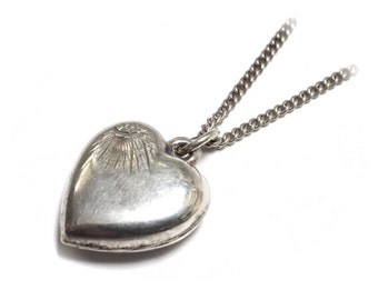 Victorian Sterling Silver Engraved Heart Necklace