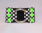 Lime Green dommed rivets on Black and White Checkered Leather Cuff