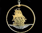 Cut Coin Jewelry - Pendant - Cook Island - Endeavor - Galleon