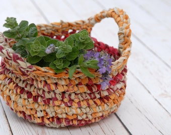 Basket with handles, Handmade rustic basket, Eco Friendly Home Decor
