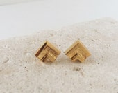 Vintage | Gold Studs | Geometric | Chevron Stud Earrings | E110012