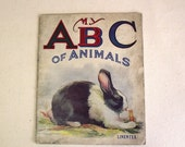 Vintage Childrens Cloth ABC Animal Book - Saalfield Pub. Linentex