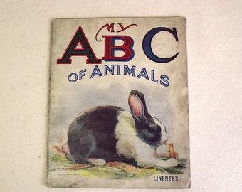 Vintage Childrens Cloth ABC Animal Book - Saalfield Pub. Linentex
