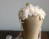 Bridal crown, vintage floral crown, romantic wedding crown, ivory flower crown, flower hair piece, wedding hair accessories - Heirloom