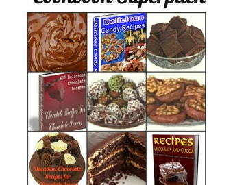 Chocolate Lovers 11 Cookbooks Superpack for Valentine's Day Hundreds of Recipes Cake, Fudge and Candy Instant Digital Download in PDF Format