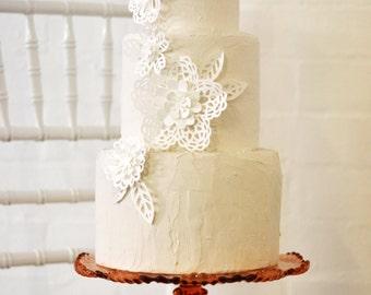 Papercut lace flower cake decorations