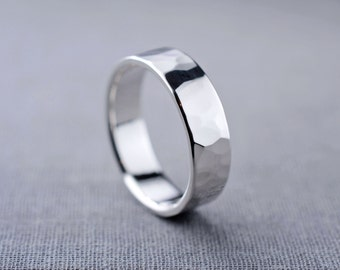 Mens Silver Ring   6mm Hammered Band   Sterling Silver Textured Ring   Mens Wedding Band   LIQUIDATION SALE