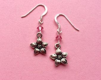 Jasmine flower dangle earrings pink Swarovski crystals sterling silver - flower jewellery - Spring nature jewelry - UK seller