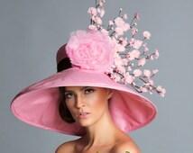 Pink Brown derby hat, Kentucky Derby Hat, Couture Hat, Cherry Blossom hat