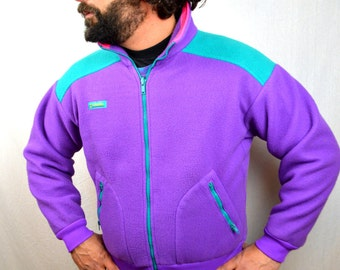 Vintage 80s Columbia Neon Fleece Coat Jacket