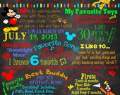 First Birthday Poster - Photography Prop - Mickey Mouse Theme