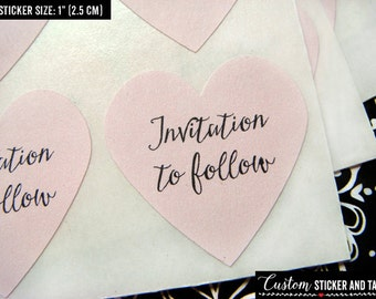 "invitation to follow stickers, 1"" heart stickers, save the date stickers, envelope seals, kraft labels, modern calligraphy stickers (S-76)"