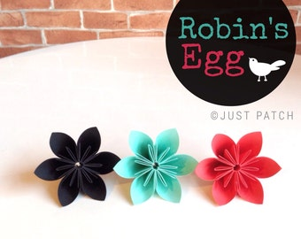 Robin's Egg - Teal, Red, and Black - 100 Origami Flowers with Free shipping