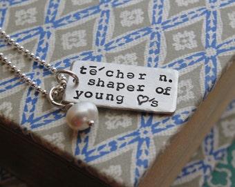 Personalized sterling silver teacher thank you gift, customized teacher gift,  teacher appreciation, gift for teacher, inspirational words