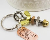 Valentine's Day Mens Keyring- Nuts about you Keychain for Him-Nuts-Bolts-Tools-I'm nuts about you-gadget keychain-gift for boyfriend