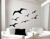 Seagull vinyl wall decal-Bedroom decal-Flying bird decal-Seagull sticker-Nautical decal-Sea bird decal-Vinyl wall art-50 X 33 inches