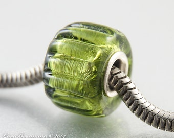 Olive Green Glass Charm Bead, Handmade Lampwork, Metallic, Ribbed Texture