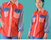 Vintage 70s Shirt Womens Button Shirt / Wrangler Boho Patchwork Cowboy Shirt / 1970s Red White & Blue Mod Blouse S / M