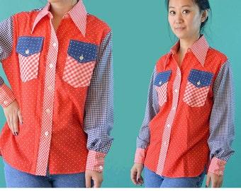 Vintage 70s Shirt Womens Button Shirt / Wrangler Boho Patchwork Cowboy Shirt / 1970s Red White & Blue Mod Blouse S / M