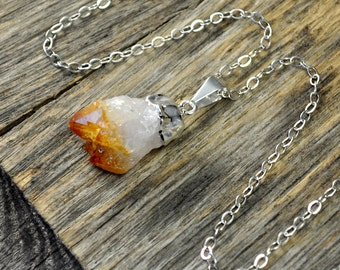 Citrine Necklace, Citrine Pendant Necklace, Citrine Silver Necklace, Citrine Point Necklace, Sterling Silver Chain