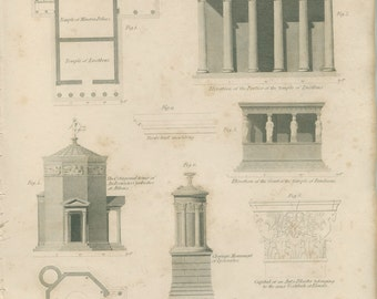 Ionic Columns, Temples: Athens, Minerva, Erechtheus, Pandrosus, Andronicus1823, Antique Archtectural Engraving, Plate 6 Lowry, Library Decor