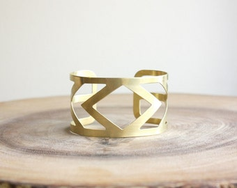 Diamond Cuff Bracelet - wide raw brass cuff bracelet, geometric jewelry, gold statement cuff, southwestern jewelry, arrow cuff, coachella