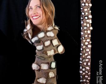 Tree Bark Textured Nuno Felt Scarf,  Designer Women Shawl, Wearable Art Accessories, Sophistique Elegant Winter Fashion