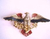 Vintage Jewelry Bird Eagle  Animal Brooch Multi  Tone