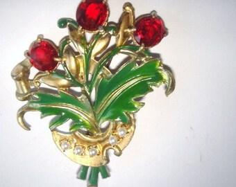Red Stone Flower Brooch Multi Tone
