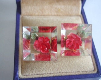 Flower Red Rose Clear Lucite Earrings