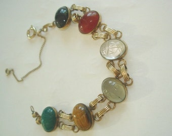 GF  Scarab Multi Color Stones Gold Tone  Bracelet