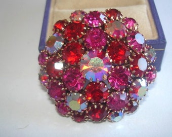 Ruby Red AB Rhinestone Brooch Gold Tone