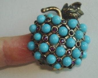 Vintage Jewelry Turquoise Rhinestone  Fruit  Brooch Gold Tone