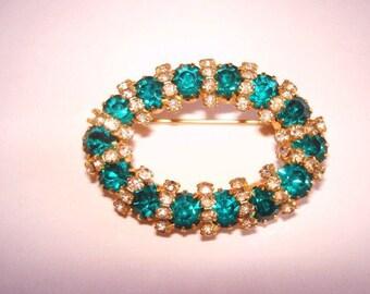 Turquoise Clear Rhinestones Brooch