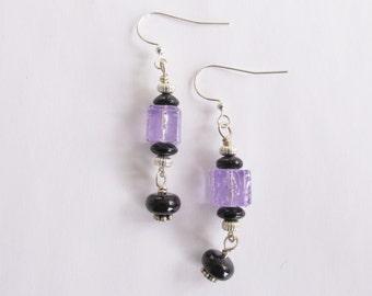Sale Earrings, Purple and Black Beaded Dangle Earrings, Destash Beaded Earrings, Clearance Earrings