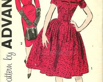 Vintage 1950s Pattern Large Cape Collar Shirtwaist Slim or Full Skirt Sleeve Variation 1959 Advance 9202 Bust 36