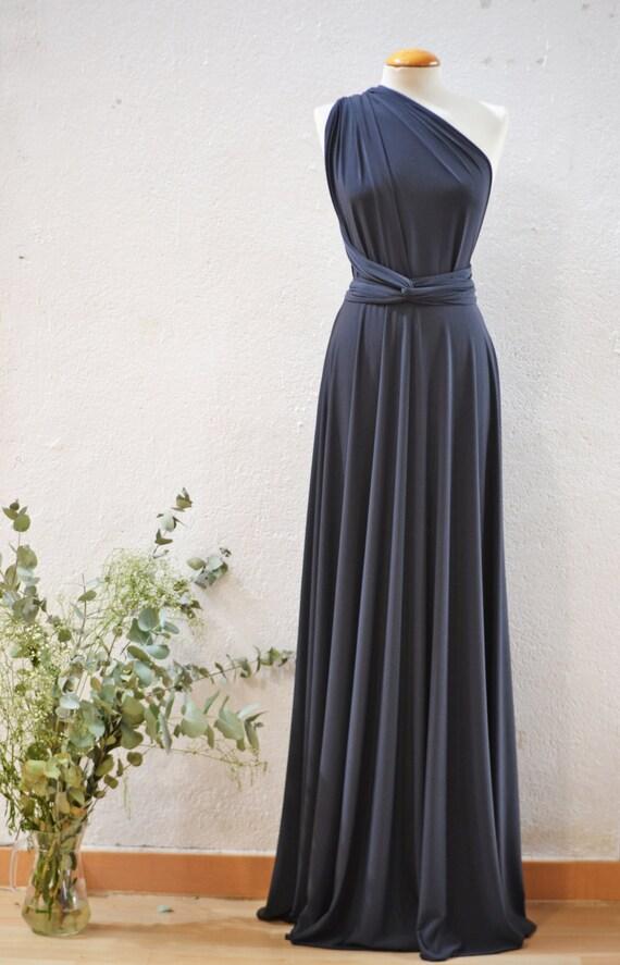 Maxi dress grey evening dress backless cocktail dress long for Dark grey wedding dresses