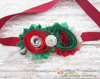 Christmas Flower Headband, Chiffon Rosettes Duo with Rhinestone Center Stretchy Red Headband, Newborn Baby Toddler Child Girls Headband