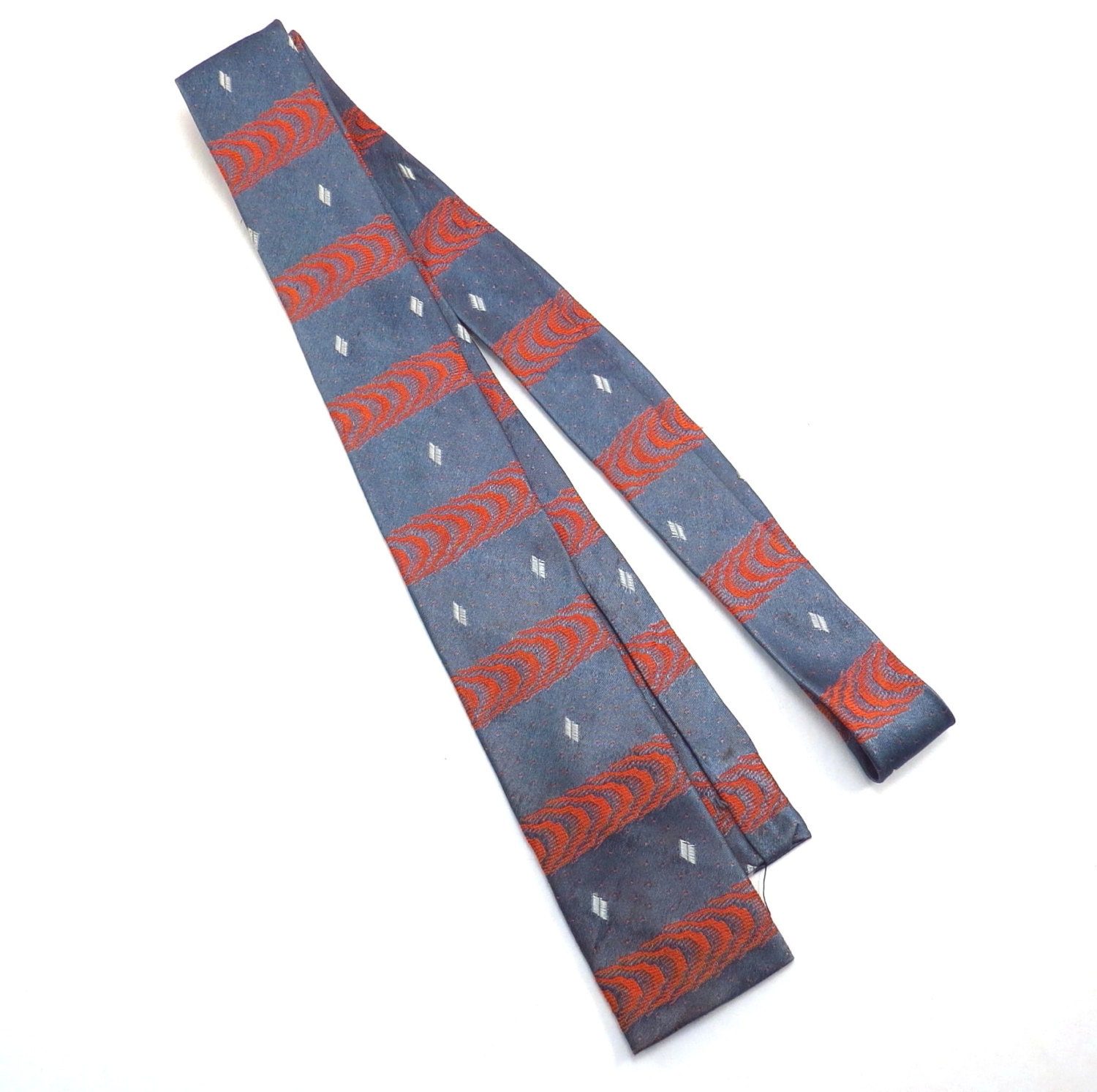 wembley silver and pink vintage tie 1960s square end pattern