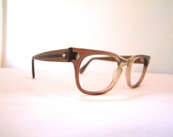 Geeky Mens Eyeglasses 1960s ,  Brown fade out Translucent Frame