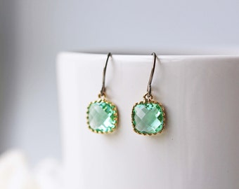 Light Green Erinite Glass Titanium Earrings Dainty Gold Square Everyday Earrings